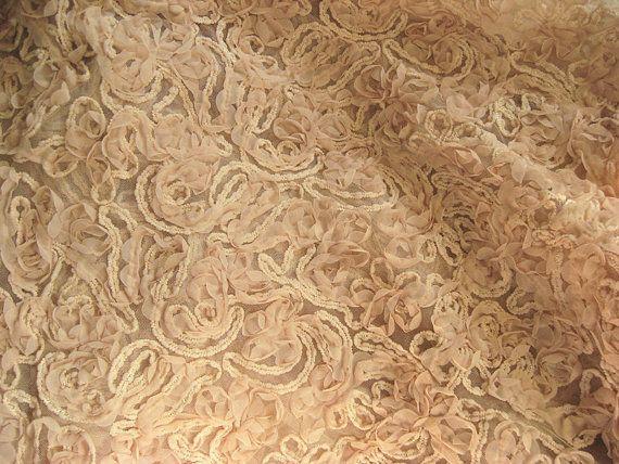 nude chiffon rosette fabric Chic Rosette Fabric chiffon door LaceFun