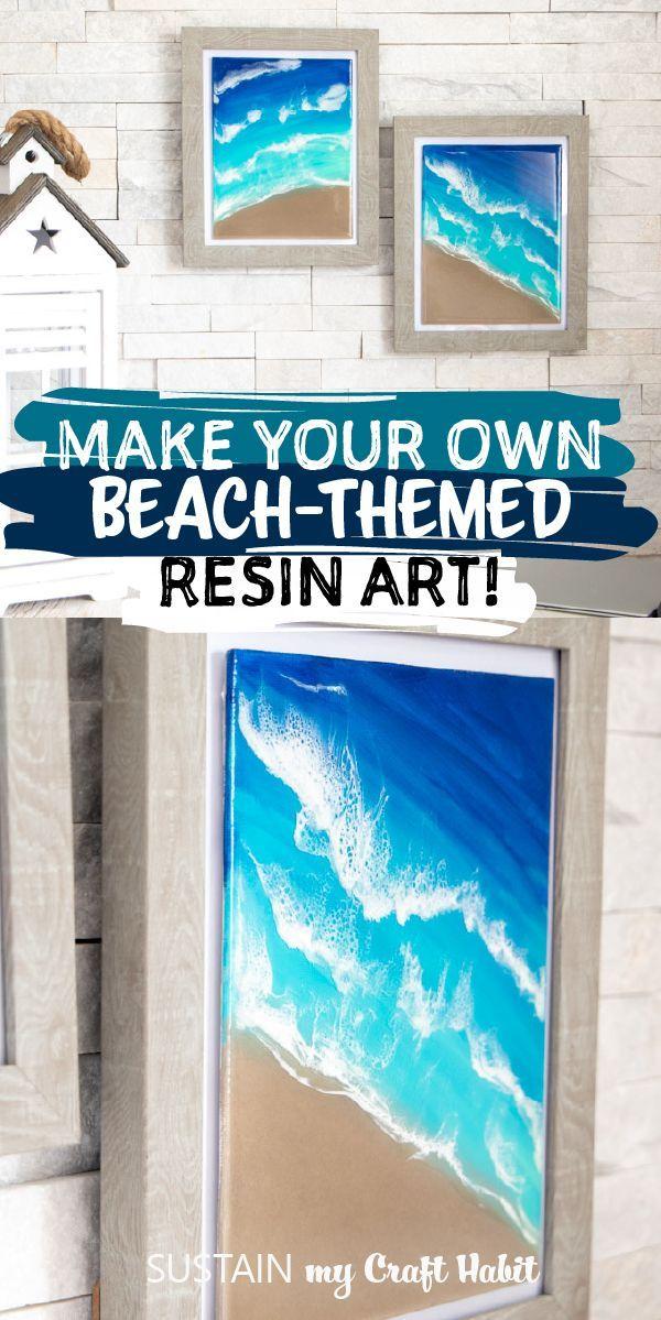 Make Your Own Beach Themed Resin Art Beach Art Diy Resin Art Beach Diy