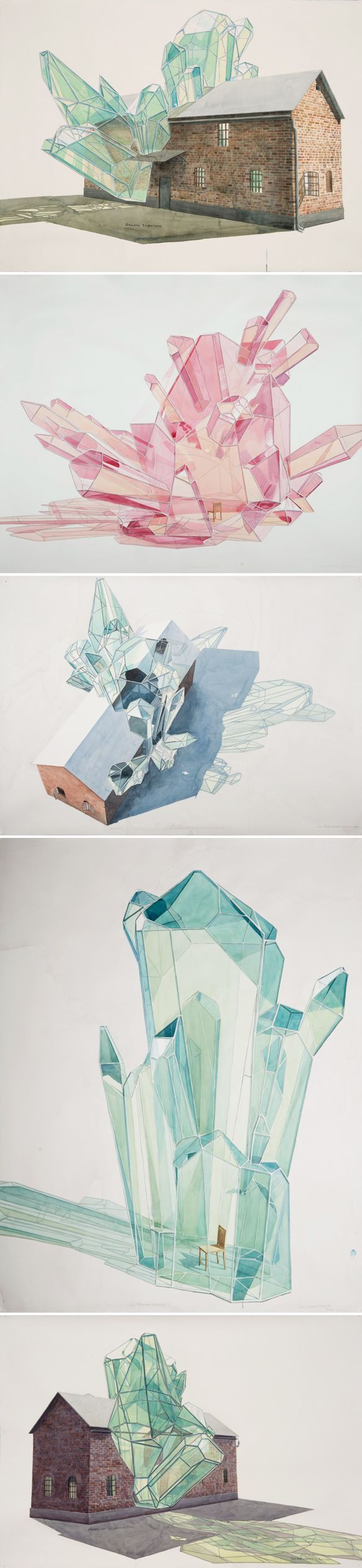 Los Carpinteros. Houses, and wooden chairs, being taken over by geometric, glass-like crystal formations.: