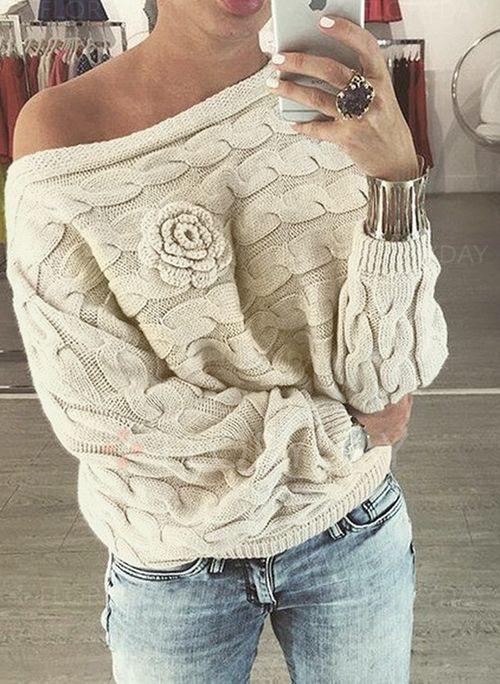 Skjorter - $25.52 - Solid Casual Bomull Skrå hals Langermet Skjorter (1645185470)