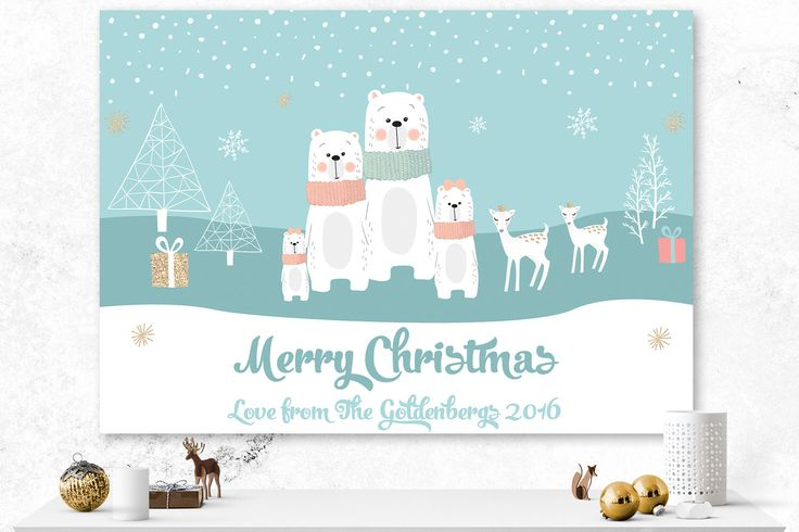 Christmas Card | Custom Holiday Card | Woodland Card | Digital Custom Card | Bears Card | Blue and White Card | Custom Illustrated Card by IspiratoPrintables on Etsy https://www.etsy.com/ca/listing/489801453/christmas-card-custom-holiday-card
