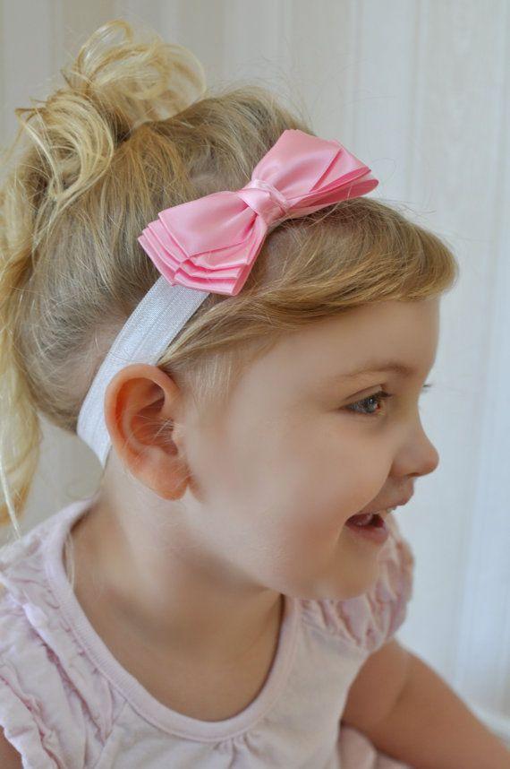 Banda rosa CANCAN muy satén cinta arco diadema de pelo blanco luz - se adapta a los bebés y niños pequeños niñas
