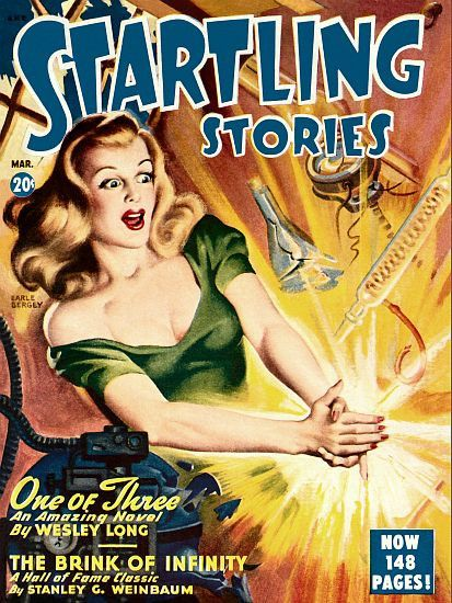Vintage Sci Fi Poster Startling Stories One Of Three