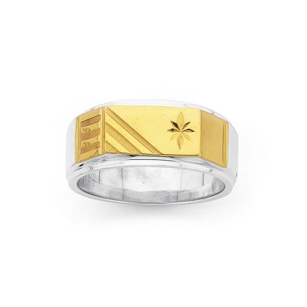Silver & 9ct Gold Gents Ring