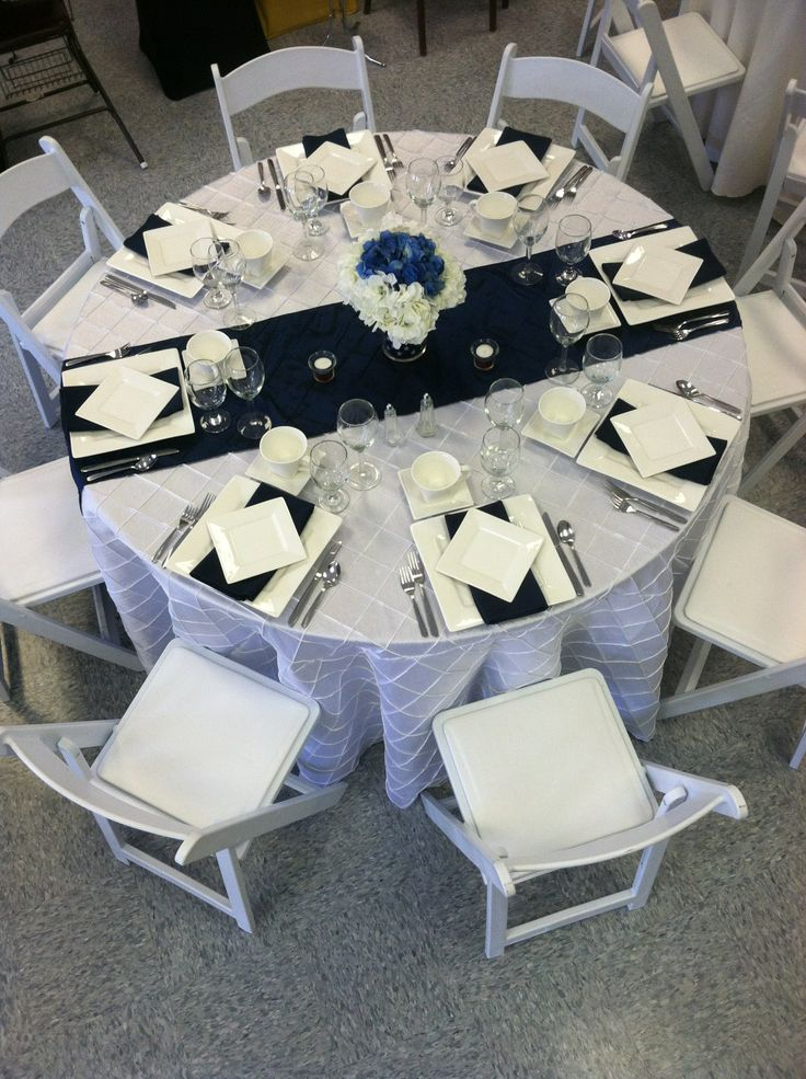 Patriotic Themed Table Setting. White Pintuck Cloth With Navy Blue Pintuck  Runner. #Patriotic