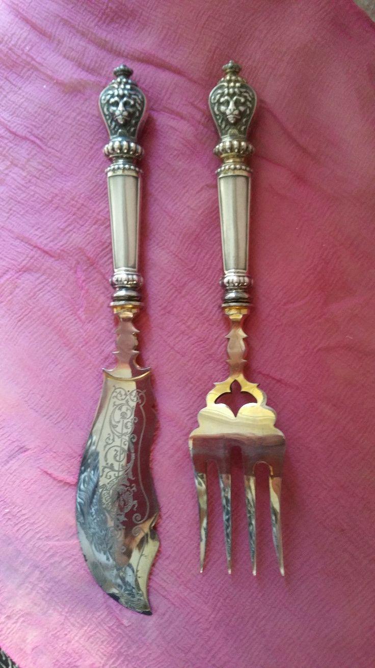 antikes Fischvorlegebesteck Historismus 2 teilig Griffe Silber Laffe vergoldet 8