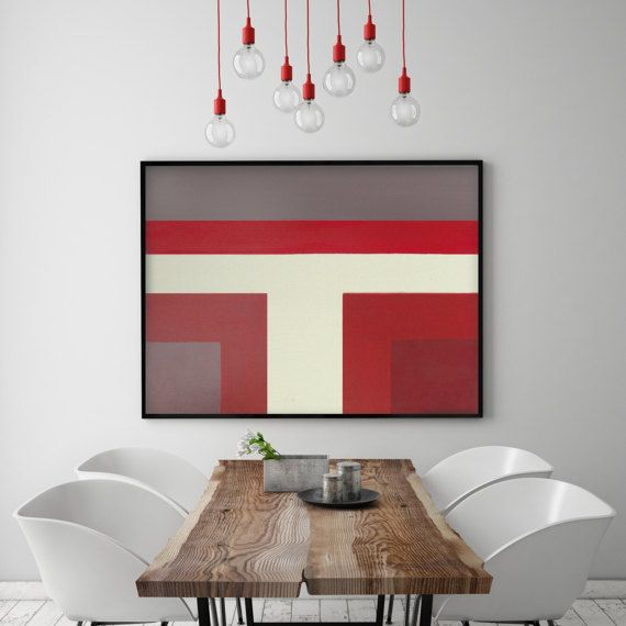 Red Modern Abstract Color Block Painting Burgundy Maroon White Gray Modern  Wall Decor Art Red Bedroom Part 43