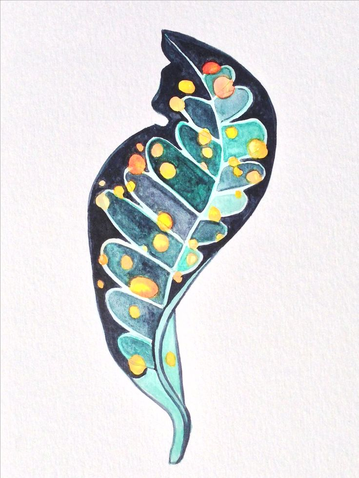 Croton Leaf in watercolours by Anna Jackson.