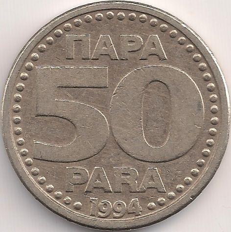 Wertseite: Münze-Europa-Südosteuropa-Jugoslawien-Dinar-0.50-1994