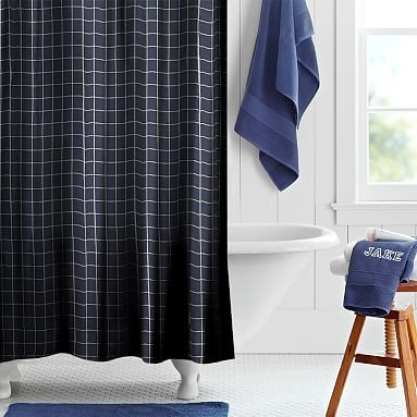 Boxter Plaid Shower Curtain, Navy