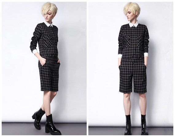 Plaid shirt for women with white collar and cuff from BWG studios.