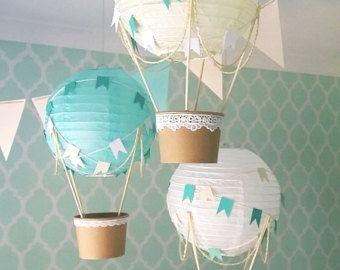 Whimsical Hot Air Balloon Decoration DIY kit MINT - nursery decor - travel theme nursery - set of 3