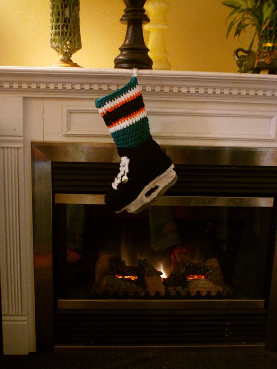 San Jose Sharks colors Ice Hockey Skate Christmas Stocking by AlysCrochetCreations, $40.00