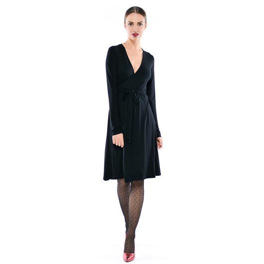 Monica - Black - kopertowa, wiązana sukienka