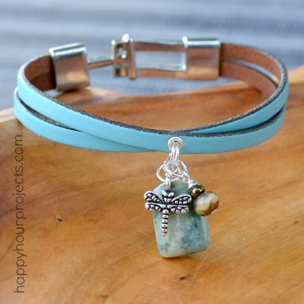 Leather Charm Bracelet  |  Happy Hour Projects