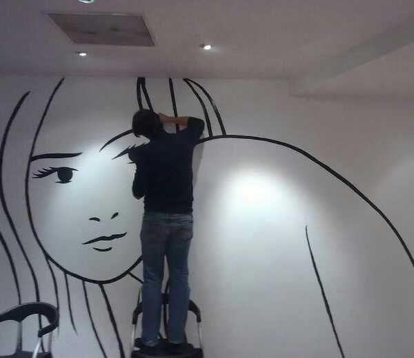 Stanza decorata da Alessandro Baronciani (BilBOlbul 2011)