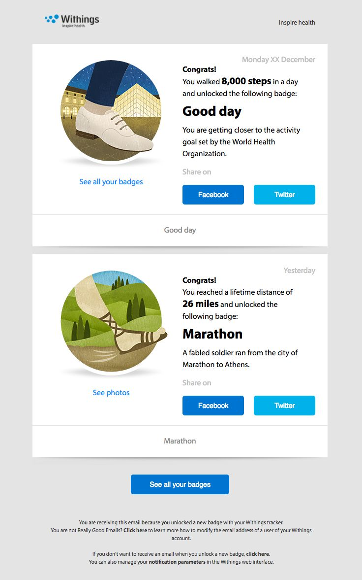 @withings  sent this email with the subject line: Congratulations for unlocking the Marathon badge! - Read about this email and find more retention emails at ReallyGoodEmails.com #exercise #fitness #personalized #retention
