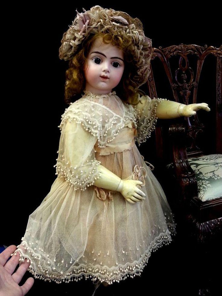 "Antique French Bru Jne R 12 Doll Original Marked Body Dress Hat Mohair Wig 27"""