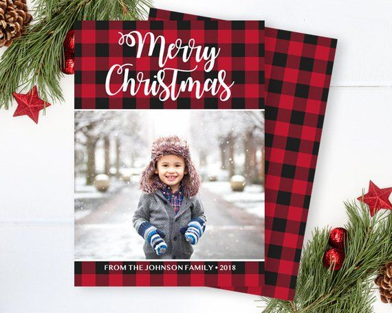 Rustic Buffalo Plaid Christmas Photo Card Red Buffalo Plaid Etsy Merry Christmas Card Photo Christmas Photo Cards Christmas Holiday Photo Cards