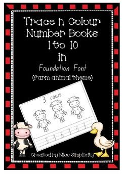 Mini number books in Foundation font Numbers 1 to 10