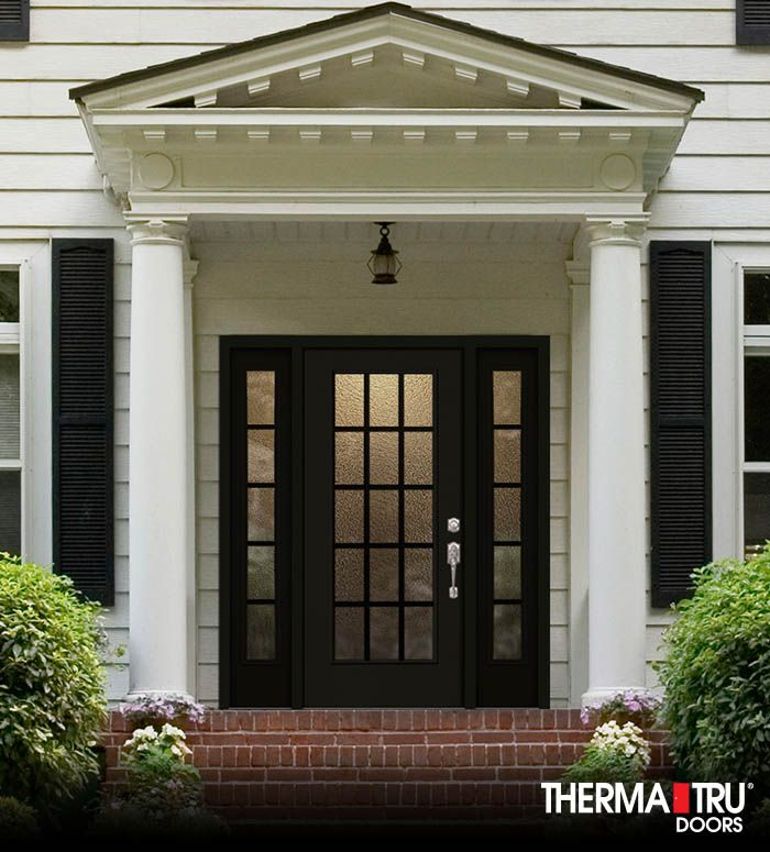 Perfect Therma Tru Smooth Star Fiberglass Door Painted Tricorn Black With Granite  Privacy Glass And