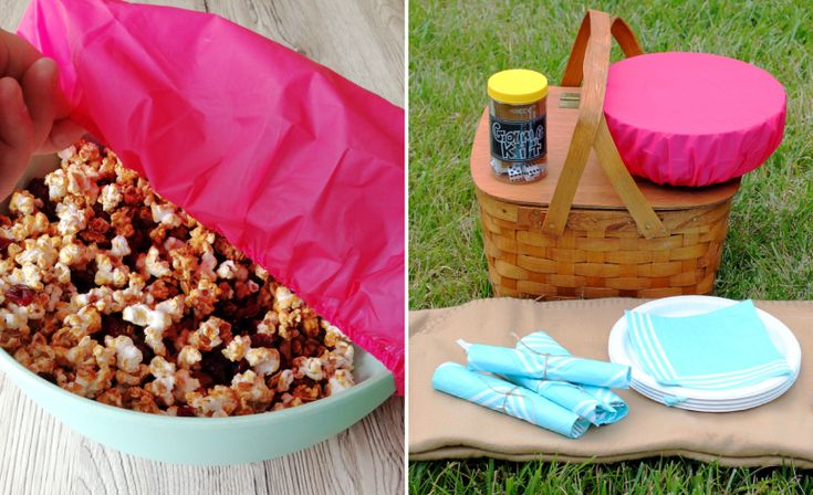 Using a Shower Cap to Cover Picnic Snacks