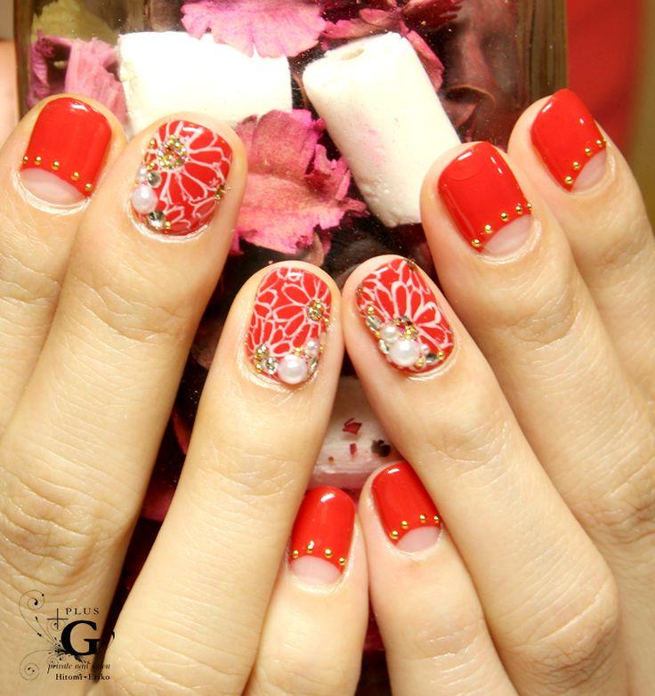 """Red frenchi for Japanese style dress-up """"KIMONO"""" #nailart #naildesign #red"""