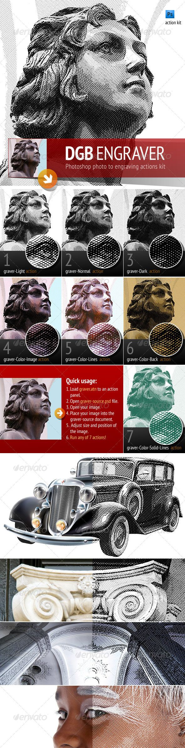 DGB Engrave action kit – That's a tool to easily turn a photo into stylized engraving. Although this process is very simple, please read the manual to avoid mistakes. DGB Engrave action kit has been tested on Photoshop CS4 , CS5 & CS3. $4