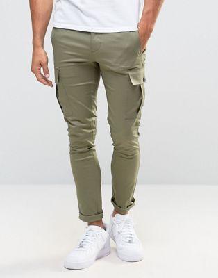 Супероблегающие брюки-карго цвета хаки ASOS
