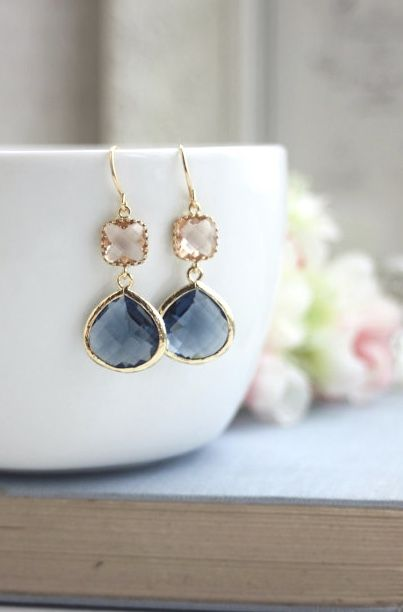 Wedding Jewelry, Navy Blue and Peach Earrings, Gold Blue and Champagne, Blue and Blush, Bridesmaid Gift Bridesmaid Jewelry, Dangle Earrings by MAROLSHA - https://www.etsy.com/sg-en/listing/123769832/wedding-jewelry-navy-blue-and-peach?ref=shop_home_active_16