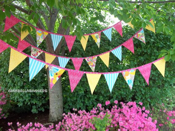 Luau aloha Hawaii banner pool party wedding Pink pennant bunting Happy Birthday cottage chic photo prop rose floral baby shower 7 ft 11 flag via Etsy