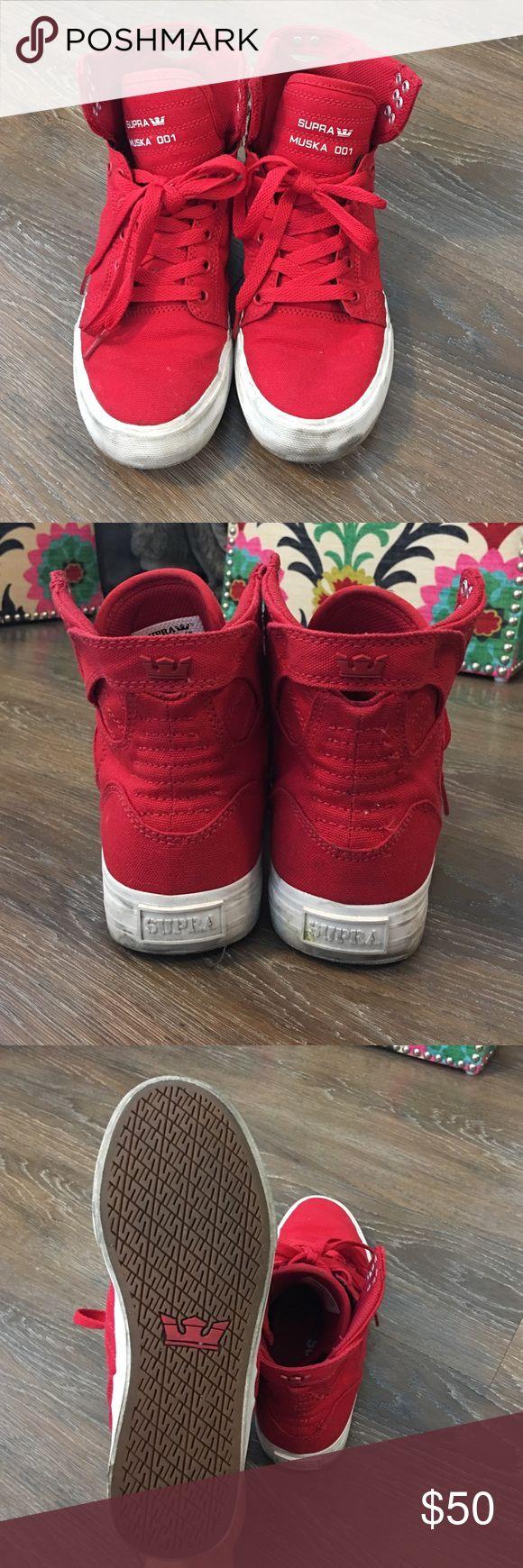 Supra Muska 001 Red Sky Tops Red Sky Top Sneakers by Supra Supra Shoes Sneakers