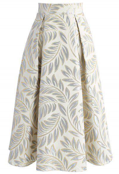 Olivo de Oro Jacquard falda de Midi