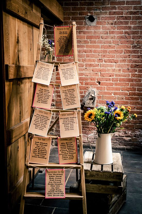 use a vintage ladder for your wedding seating chart