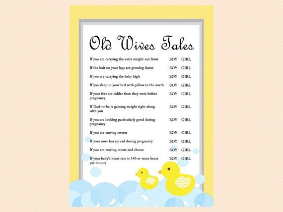 Old Wives Tales Baby gender prediction game by MagicalPrintable