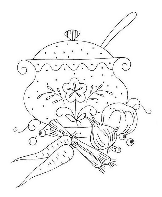 Nice for a tea towel I think...: Hand Embroidery, Patterns Drawings, Embroidery Kitchen, Embroidery Patterns, Design 846, Embroidery, Stew Pot