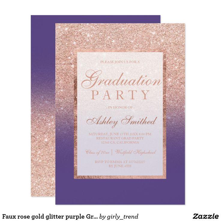 zazzle wedding invitations promo code%0A Faux rose gold glitter purple Graduation party Card