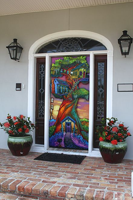 New Art Door -  This stunning eye-grabber is the first of its kind. Osborne painted it on a solid wooden exterior door and protected it with automotive clear sealer for weatherproofing. An awning is recommended for additional protection