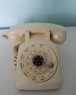 Vintage White Rotary Phone —