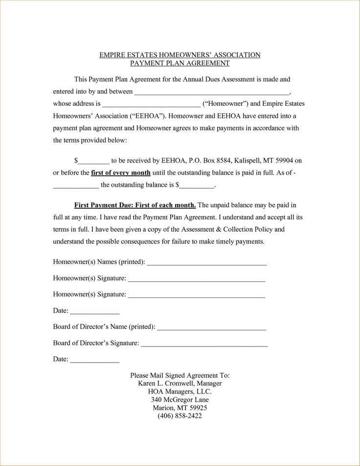 Image Result For Payment Plan Contract Agreement Template