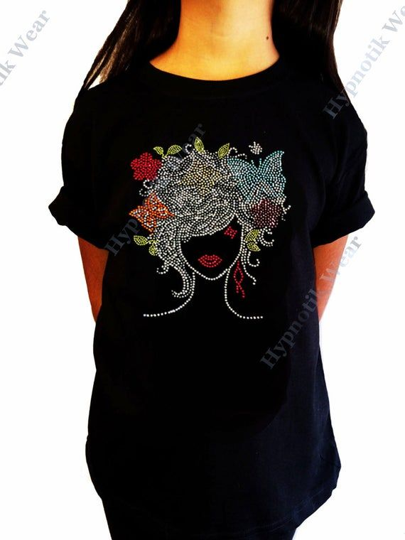 """Girls Rhinestone T-Shirt /"""" Colorful Girl /"""" Size 3 to 14 Available Butterflies"""
