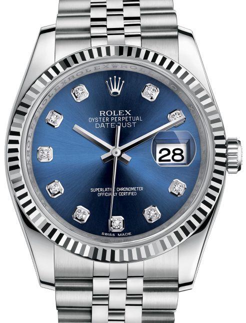 116234 Blue set with diamonds Jublilee, Rolex часы Datejust 36mm Steel Fluted Bezel Jublilee Bracelet