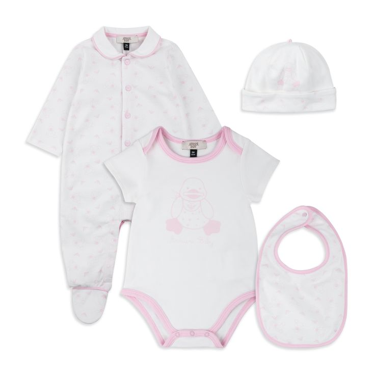ARMANI BABY Baby Girls Gift Set - Pink/White Baby girls gift set • Soft cotton jersey • Footed coverall • Short sleeve bodyvest • Popper fastenings • Matching hat & bib • Duck logo emblem throughout • Material: 100% Cotton