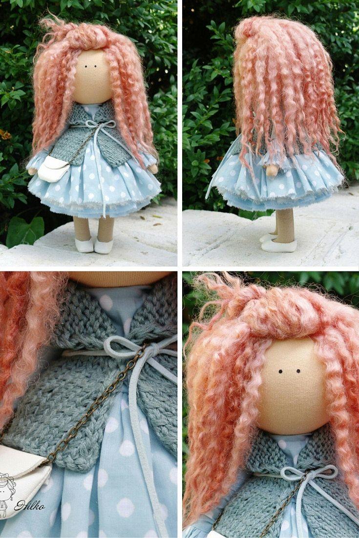 Curly doll handmade Tilda doll Rag doll Art by AnnKirillartPlace