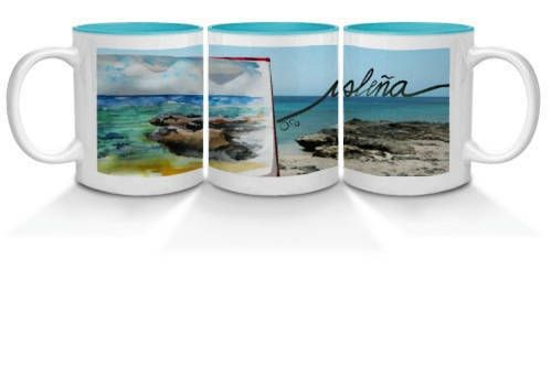 Illustrated Isleña Fuerteventura mugs printed in a coloured