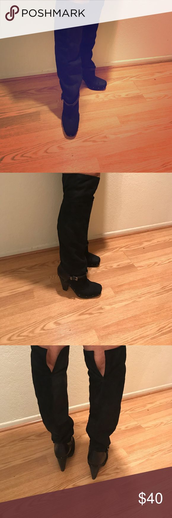 Rachel Roy over the knee boots Black Suede Over the Knee Boot with silver buckle only worn a few times RACHEL Rachel Roy Shoes Over the Knee Boots