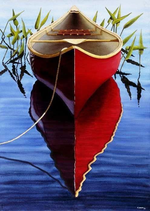 "Red Canoe in Pickerel Weeds by Ed Novak """