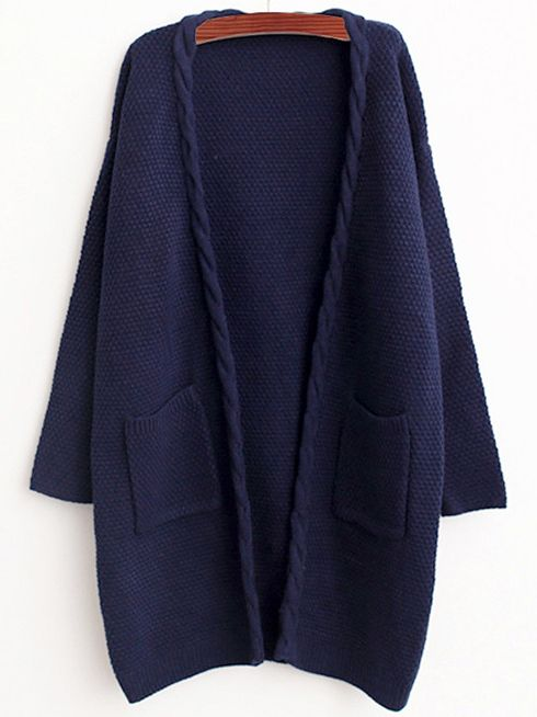 Navy Cable Knit Pockets Loose Cardigan -SheIn(Sheinside)