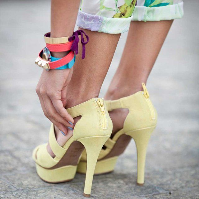 Fancy - Women'sPastel, Fashion Style, Colors, Street Style, Summer Shoes, Yellow Shoes, Sandals, Yellow Heels, Pale Yellow
