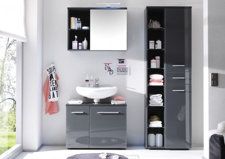 """Badmöbel / Badezimmer """"NELE"""" 3tlg Set in Farbe Grau glänzend ohne Waschbecken günstig online kaufen"""